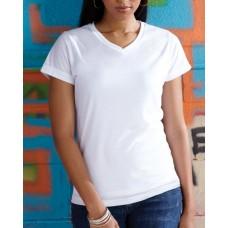 Ladies' Polyester V-Neck T-Shirt
