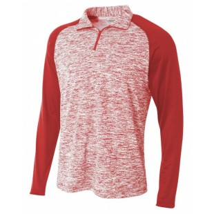 Adult Space-Dye 1/4 Zip with Contrast Sleeve